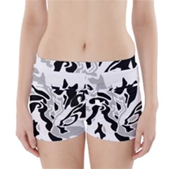 Gray, Black And White Decor Boyleg Bikini Wrap Bottoms