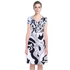 Gray, black and white decor Short Sleeve Front Wrap Dress