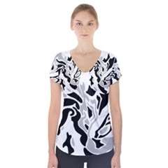 Gray, black and white decor Short Sleeve Front Detail Top