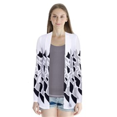 Gray, black and white decor Drape Collar Cardigan