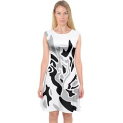 Gray, black and white decor Capsleeve Midi Dress