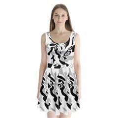 Gray, black and white decor Split Back Mini Dress