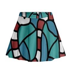 Red snake Mini Flare Skirt