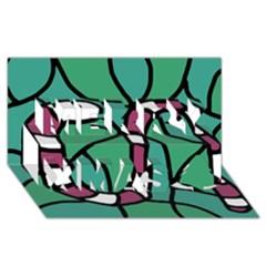 Purple snake  Merry Xmas 3D Greeting Card (8x4)