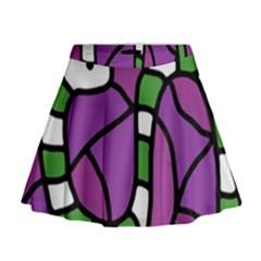Green snake Mini Flare Skirt
