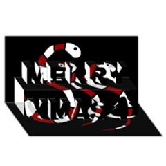 Red snakes Merry Xmas 3D Greeting Card (8x4)