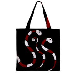 Red snakes Zipper Grocery Tote Bag