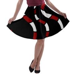 Red snakes A-line Skater Skirt