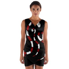 Red snakes Wrap Front Bodycon Dress