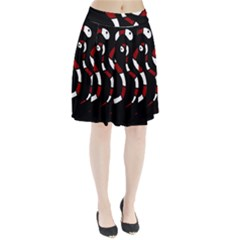 Red Snakes Pleated Skirt