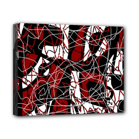 Red black and white abstract high art Canvas 10  x 8