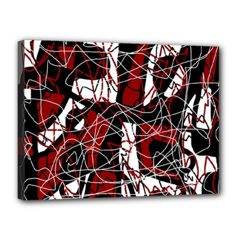 Red black and white abstract high art Canvas 16  x 12