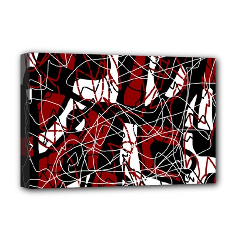 Red black and white abstract high art Deluxe Canvas 18  x 12