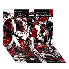 Red black and white abstract high art LOVE 3D Greeting Card (7x5)