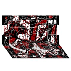 Red black and white abstract high art Twin Heart Bottom 3D Greeting Card (8x4)