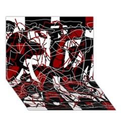 Red Black And White Abstract High Art Apple 3d Greeting Card (7x5)