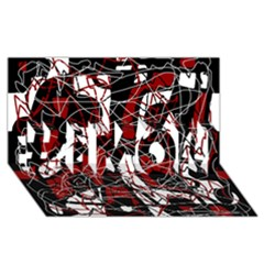 Red black and white abstract high art #1 MOM 3D Greeting Cards (8x4)