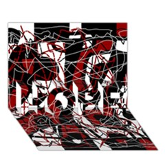 Red black and white abstract high art HOPE 3D Greeting Card (7x5)