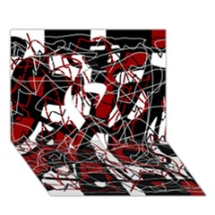 Red black and white abstract high art Ribbon 3D Greeting Card (7x5)