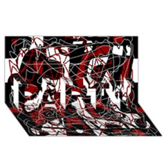 Red black and white abstract high art PARTY 3D Greeting Card (8x4)