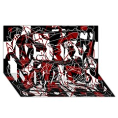 Red black and white abstract high art Merry Xmas 3D Greeting Card (8x4)