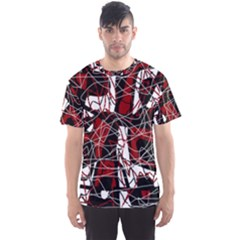 Red black and white abstract high art Men s Sport Mesh Tee