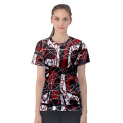 Red black and white abstract high art Women s Sport Mesh Tee