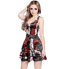 Red black and white abstract high art Reversible Sleeveless Dress