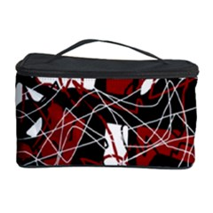 Red black and white abstract high art Cosmetic Storage Case