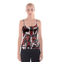 Red black and white abstract high art Spaghetti Strap Top