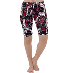 Red black and white abstract high art Cropped Leggings