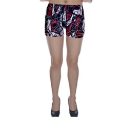 Red black and white abstract high art Skinny Shorts