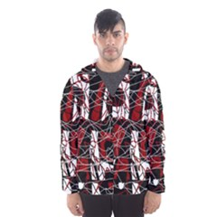 Red black and white abstract high art Hooded Wind Breaker (Men)