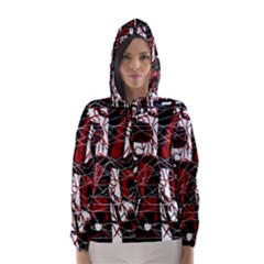 Red black and white abstract high art Hooded Wind Breaker (Women)