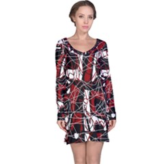 Red black and white abstract high art Long Sleeve Nightdress
