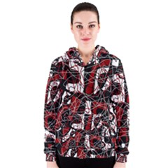 Red black and white abstract high art Women s Zipper Hoodie