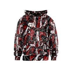 Red black and white abstract high art Kids  Zipper Hoodie