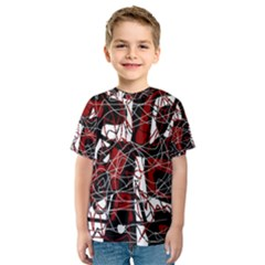 Red black and white abstract high art Kid s Sport Mesh Tee