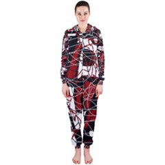 Red black and white abstract high art Hooded Jumpsuit (Ladies)