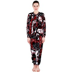 Red black and white abstract high art OnePiece Jumpsuit (Ladies)