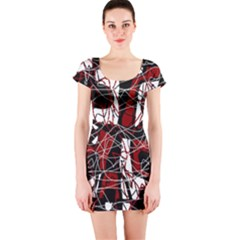 Red black and white abstract high art Short Sleeve Bodycon Dress