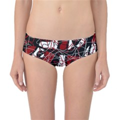 Red black and white abstract high art Classic Bikini Bottoms