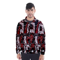 Red black and white abstract high art Wind Breaker (Men)