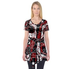 Red black and white abstract high art Short Sleeve Tunic