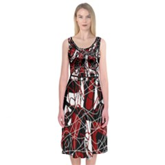 Red Black And White Abstract High Art Midi Sleeveless Dress