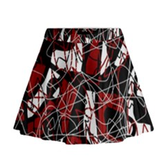 Red Black And White Abstract High Art Mini Flare Skirt