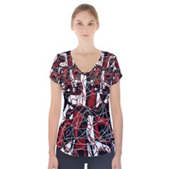 Red black and white abstract high art Short Sleeve Front Detail Top