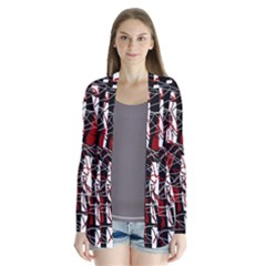 Red black and white abstract high art Drape Collar Cardigan