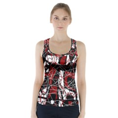 Red black and white abstract high art Racer Back Sports Top
