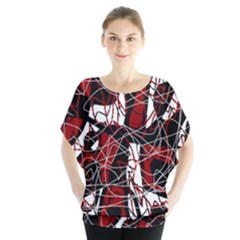 Red black and white abstract high art Blouse